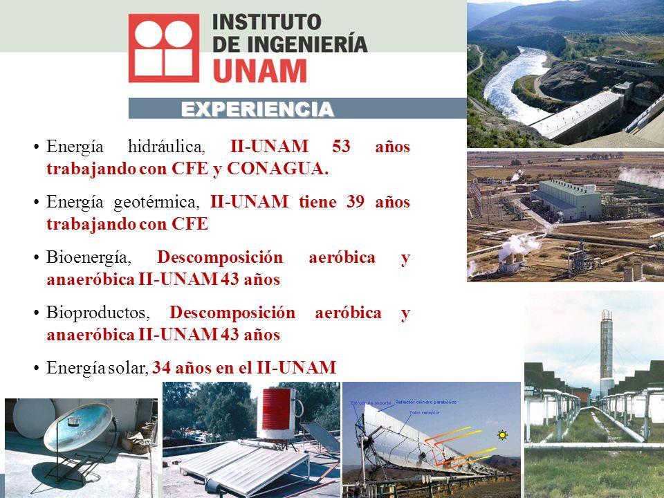 EXPERIENCIA Energía hidráulica, II-UNAM 53 años trabajando con CFE y CONAGUA.