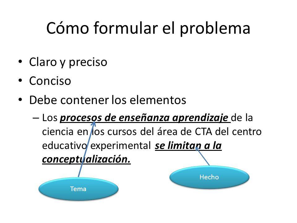 Cómo formular el problema Claro y preciso Conciso Debe contener los elementos – Los procesos de enseñanza aprendizaje de la ciencia en los cursos del