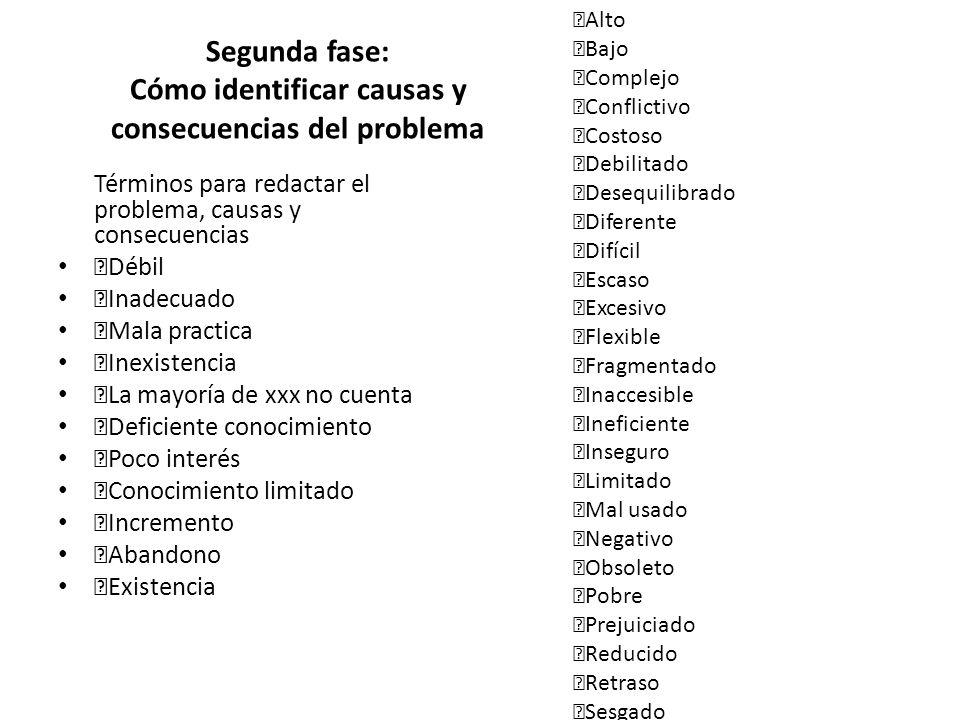 Segunda fase: Cómo identificar causas y consecuencias del problema Términos para redactar el problema, causas y consecuencias Débil Inadecuado Mala pr