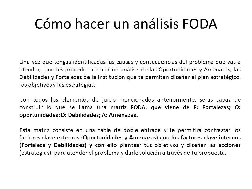 Cómo hacer un análisis FODA Una vez que tengas identificadas las causas y consecuencias del problema que vas a atender, puedes proceder a hacer un aná