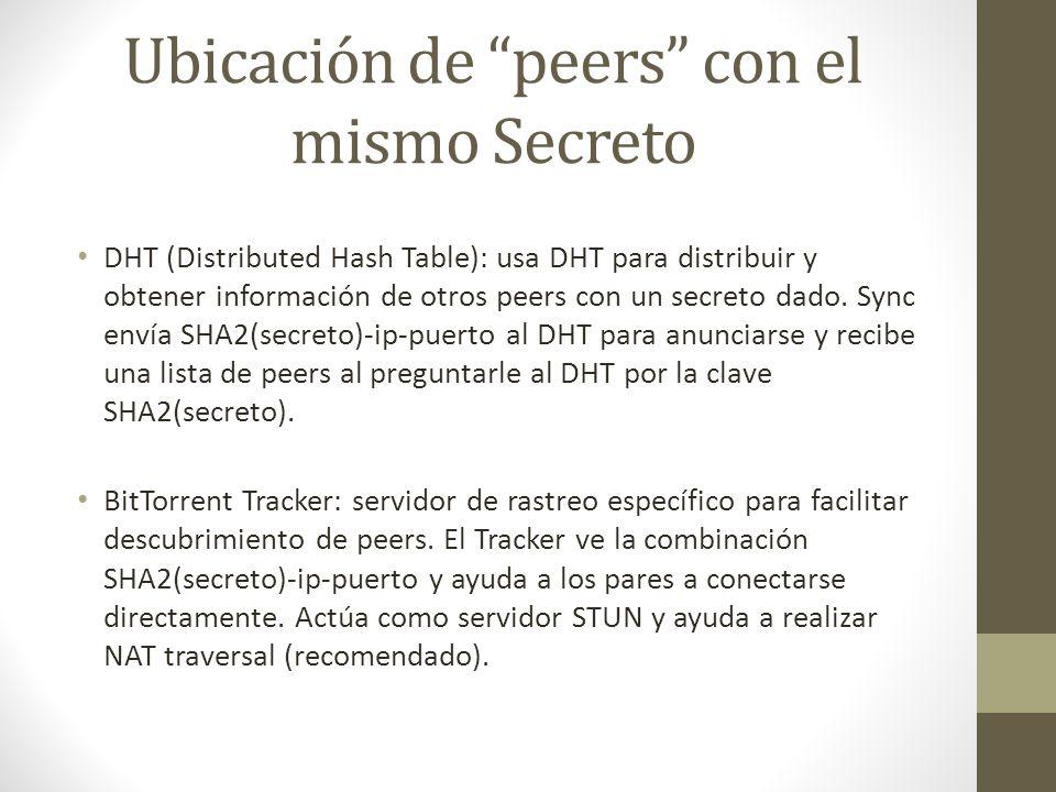 Ubicación de peers con el mismo Secreto DHT (Distributed Hash Table): usa DHT para distribuir y obtener información de otros peers con un secreto dado.