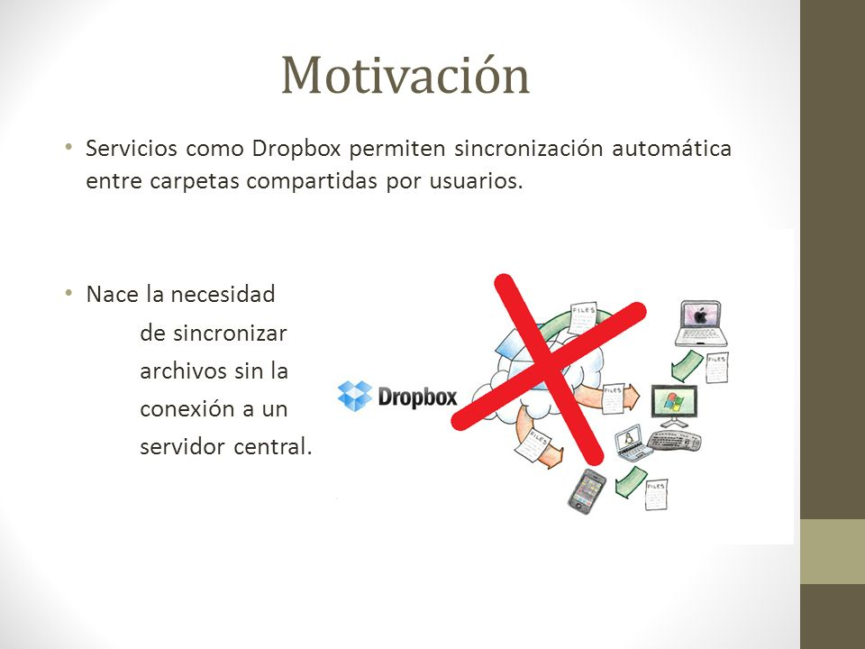 Motivación Servicios como Dropbox permiten sincronización automática entre carpetas compartidas por usuarios.