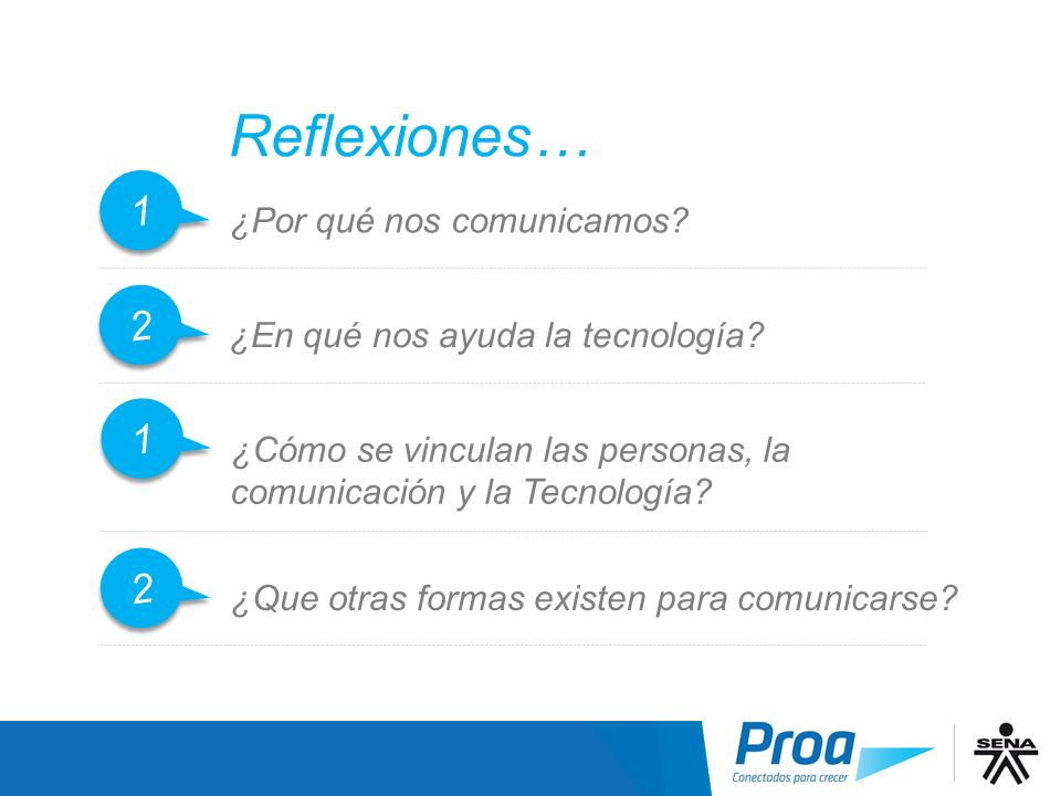 Reflexiones… 1 1 ¿Por qué nos comunicamos? 2 2 ¿En qué nos ayuda la tecnología? 1 1 ¿Cómo se vinculan las personas, la comunicación y la Tecnología? 2