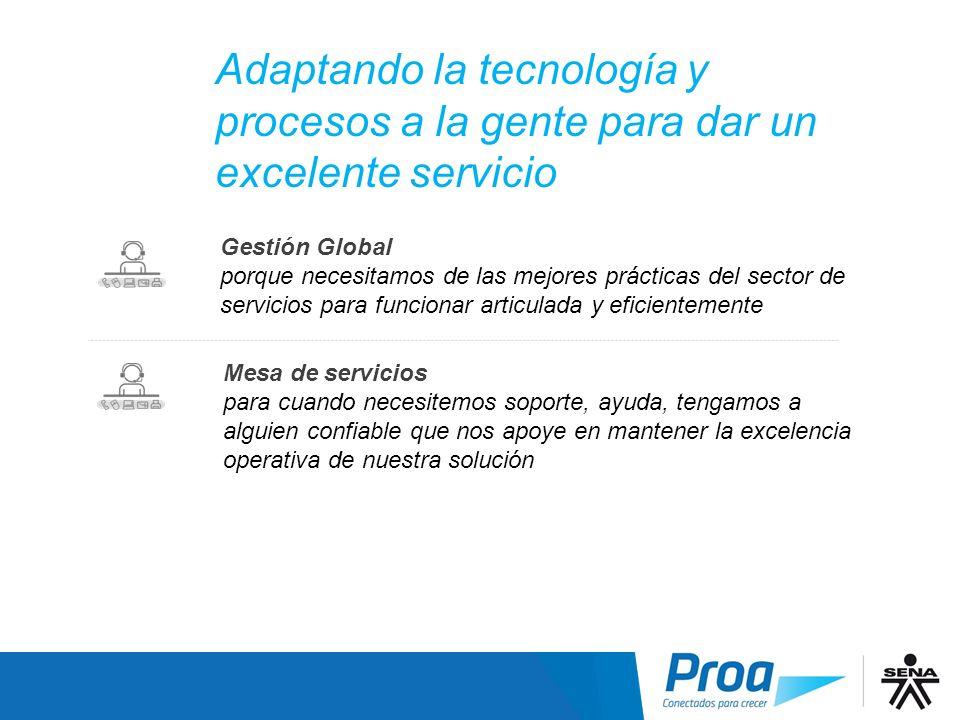Adaptando la tecnología y procesos a la gente para dar un excelente servicio Gestión Global porque necesitamos de las mejores prácticas del sector de