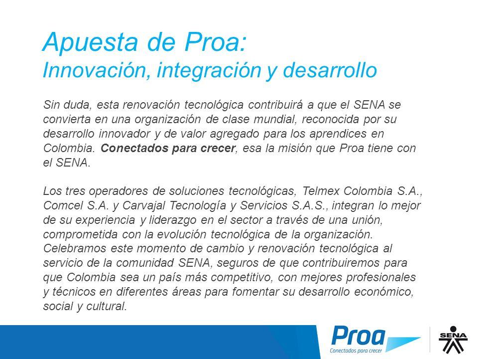 Apuesta de Proa: Innovación, integración y desarrollo Introducción - Continuación Sin duda, esta renovación tecnológica contribuirá a que el SENA se c