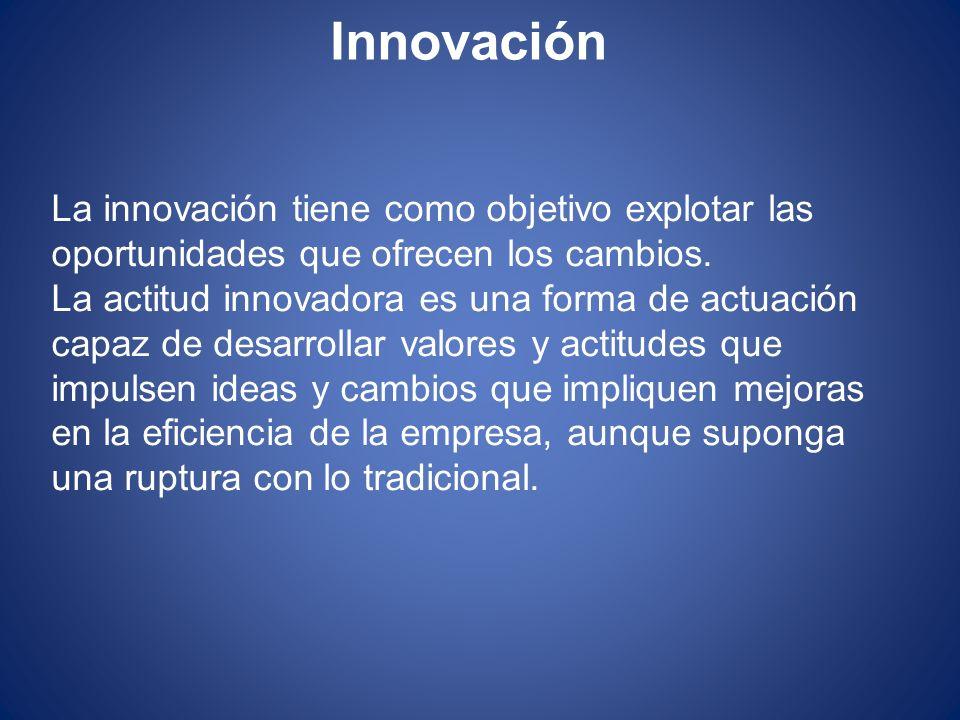 Innovación La innovación tiene como objetivo explotar las oportunidades que ofrecen los cambios. La actitud innovadora es una forma de actuación capaz
