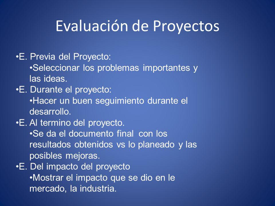 Evaluación de Proyectos E. Previa del Proyecto: Seleccionar los problemas importantes y las ideas. E. Durante el proyecto: Hacer un buen seguimiento d