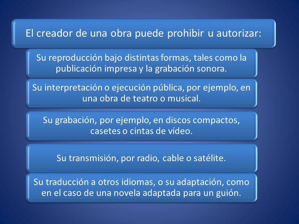 El creador de una obra puede prohibir u autorizar: Su reproducción bajo distintas formas, tales como la publicación impresa y la grabación sonora. Su