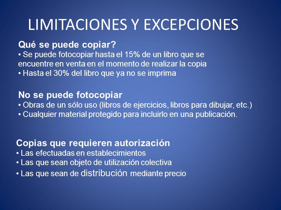 LIMITACIONES Y EXCEPCIONES Qué se puede copiar? Se puede fotocopiar hasta el 15% de un libro que se encuentre en venta en el momento de realizar la co