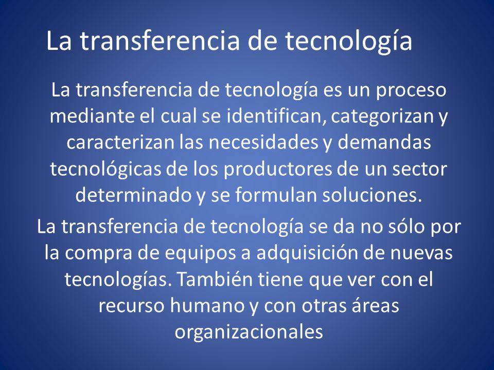 La transferencia de tecnología La transferencia de tecnología es un proceso mediante el cual se identifican, categorizan y caracterizan las necesidade