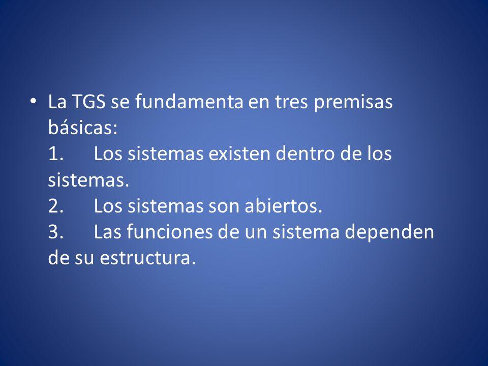 La TGS se fundamenta en tres premisas básicas: 1. Los sistemas existen dentro de los sistemas. 2. Los sistemas son abiertos. 3. Las funciones de un si