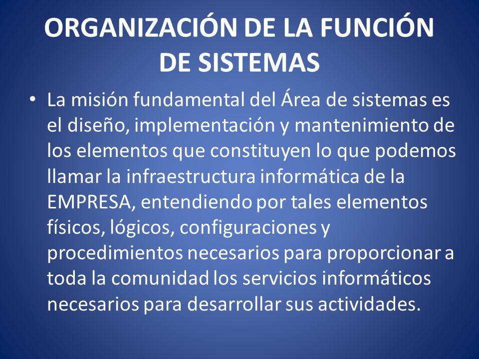 ORGANIZACIÓN DE LA FUNCIÓN DE SISTEMAS La misión fundamental del Área de sistemas es el diseño, implementación y mantenimiento de los elementos que co