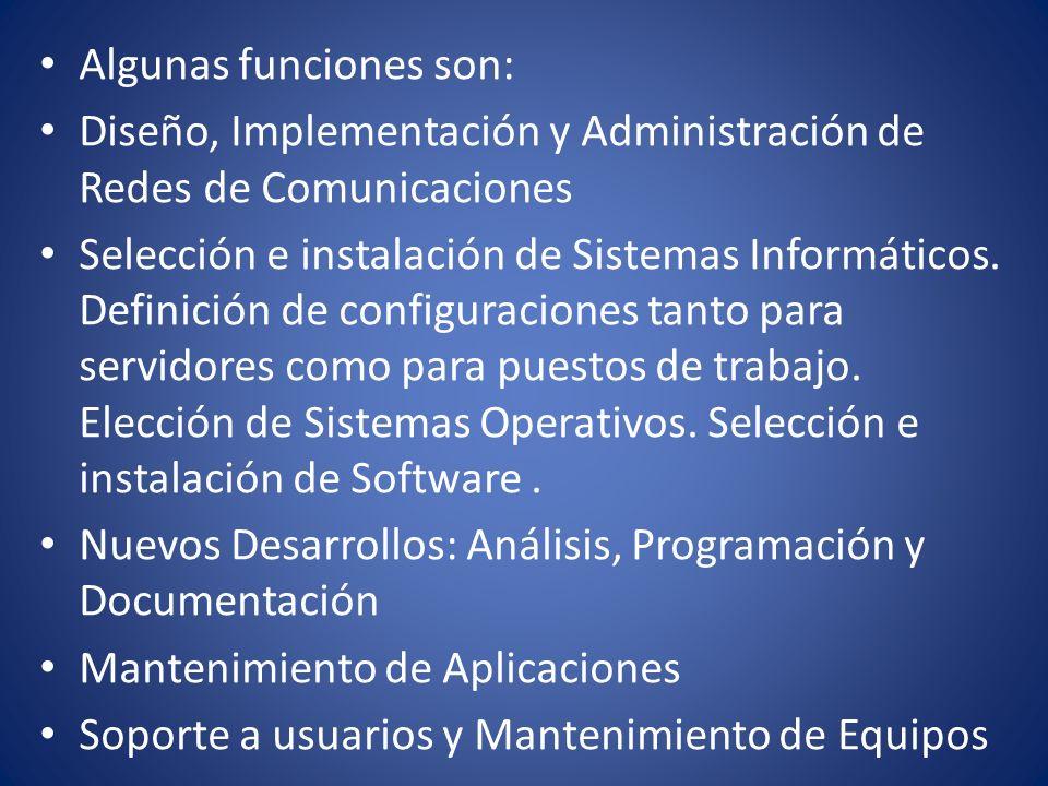 Algunas funciones son: Diseño, Implementación y Administración de Redes de Comunicaciones Selección e instalación de Sistemas Informáticos. Definición
