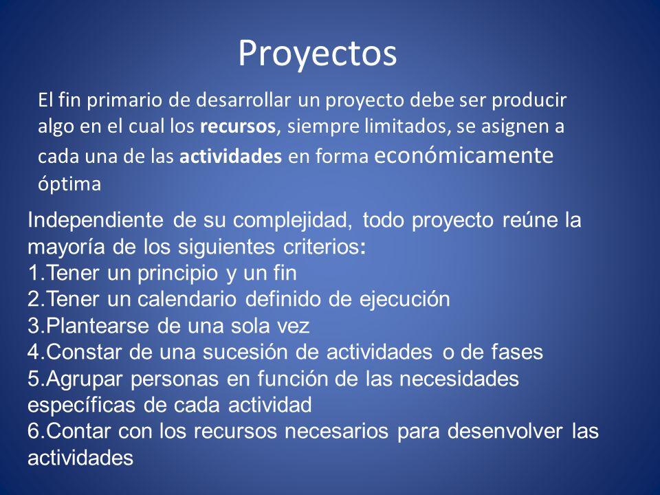 Proyectos Independiente de su complejidad, todo proyecto reúne la mayoría de los siguientes criterios: 1.Tener un principio y un fin 2.Tener un calend