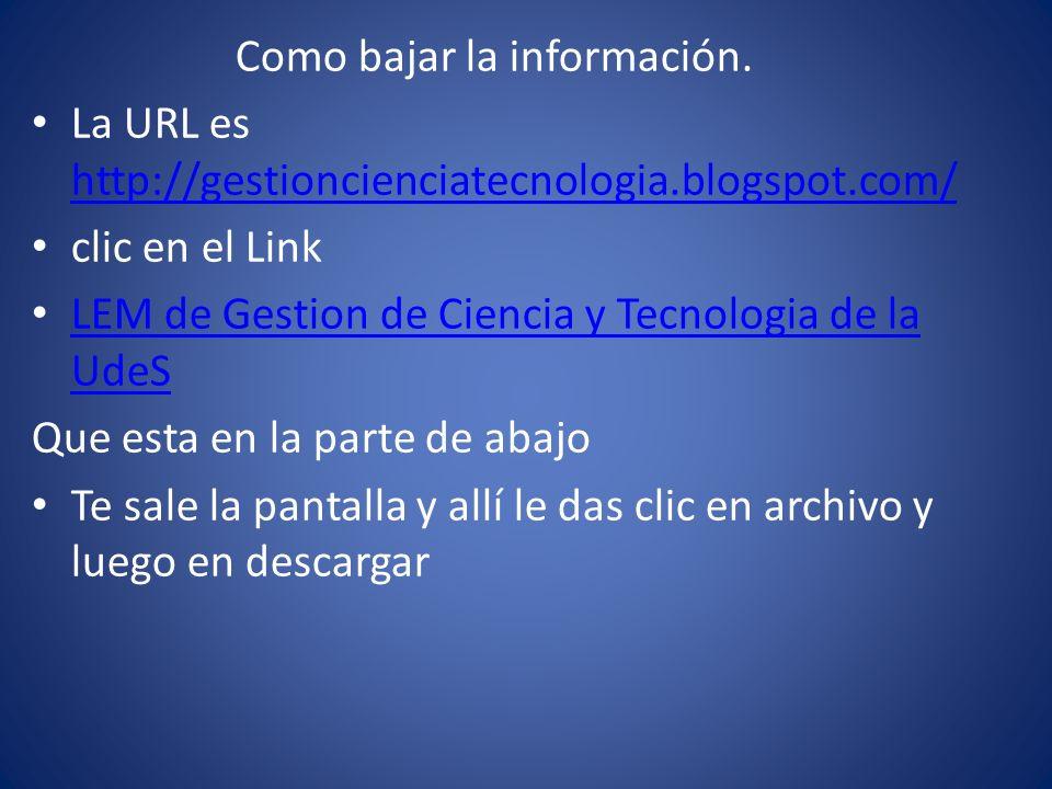 Como bajar la información. La URL es http://gestioncienciatecnologia.blogspot.com/ http://gestioncienciatecnologia.blogspot.com/ clic en el Link LEM d
