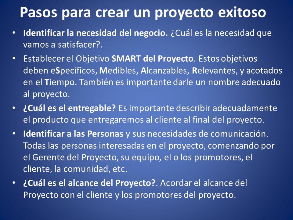 Pasos para crear un proyecto exitoso Identificar la necesidad del negocio. ¿Cuál es la necesidad que vamos a satisfacer?. Establecer el Objetivo SMART