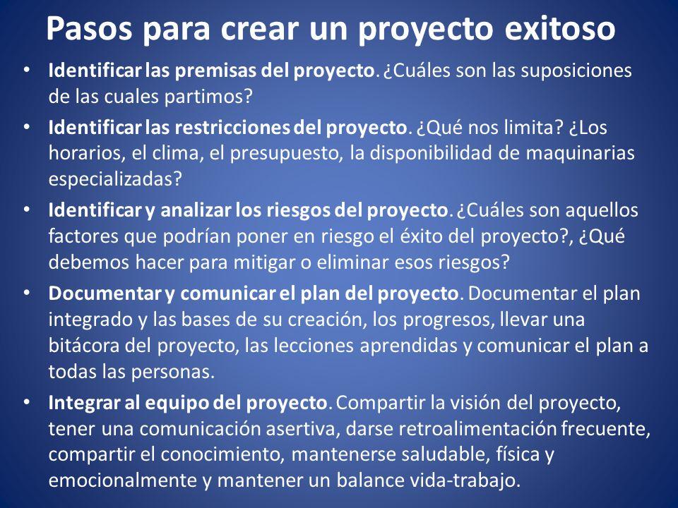 Pasos para crear un proyecto exitoso Identificar las premisas del proyecto. ¿Cuáles son las suposiciones de las cuales partimos? Identificar las restr