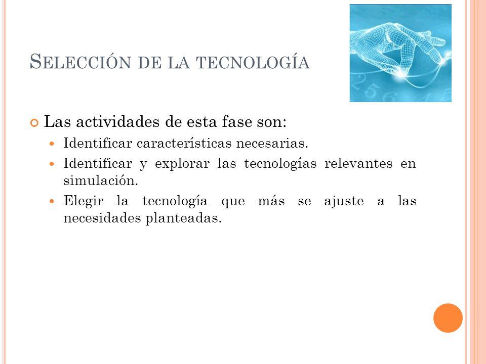 S ELECCIÓN DE LA TECNOLOGÍA Las actividades de esta fase son: Identificar características necesarias. Identificar y explorar las tecnologías relevante