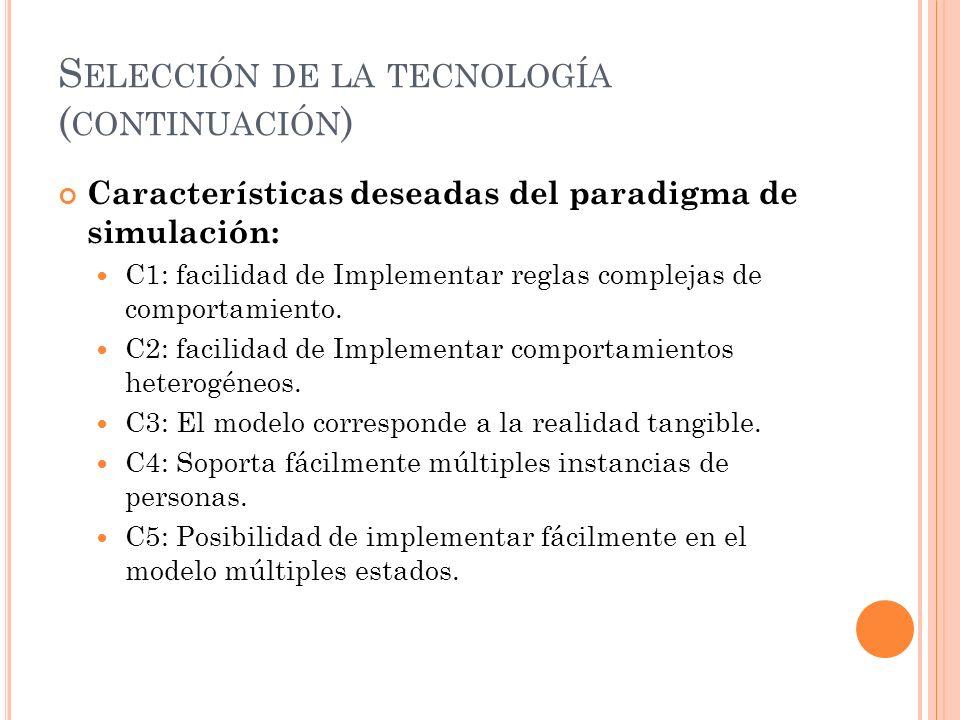 S ELECCIÓN DE LA TECNOLOGÍA ( CONTINUACIÓN ) Características deseadas del paradigma de simulación: C1: facilidad de Implementar reglas complejas de co