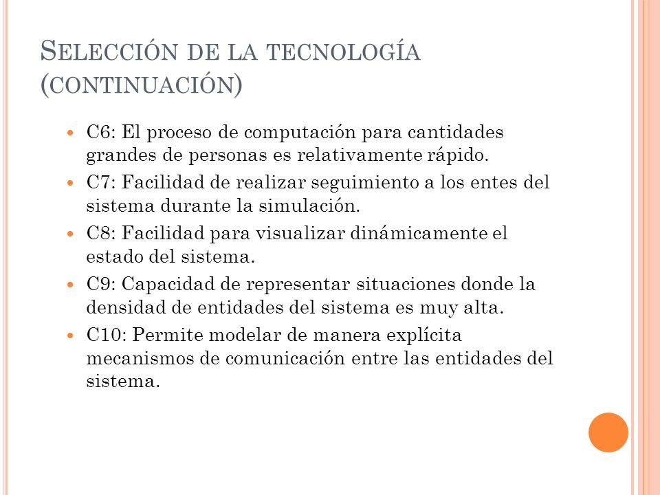 S ELECCIÓN DE LA TECNOLOGÍA ( CONTINUACIÓN ) C6: El proceso de computación para cantidades grandes de personas es relativamente rápido. C7: Facilidad