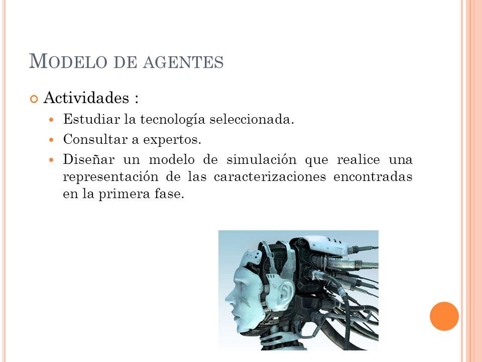M ODELO DE AGENTES Actividades : Estudiar la tecnología seleccionada. Consultar a expertos. Diseñar un modelo de simulación que realice una representa