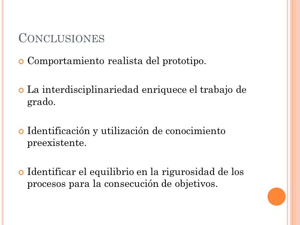 C ONCLUSIONES Comportamiento realista del prototipo. La interdisciplinariedad enriquece el trabajo de grado. Identificación y utilización de conocimie