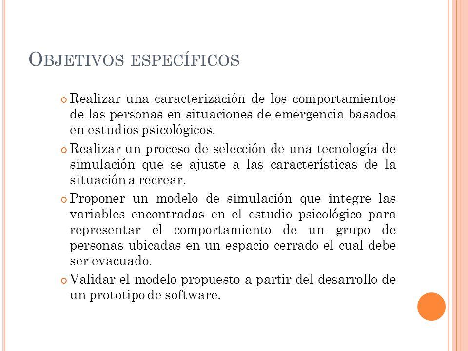 O BJETIVOS ESPECÍFICOS Realizar una caracterización de los comportamientos de las personas en situaciones de emergencia basados en estudios psicológic