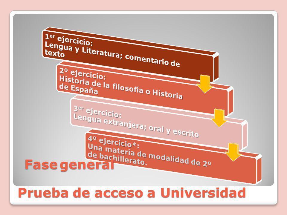 Prueba de acceso a Universidad Fasegeneral Fase general