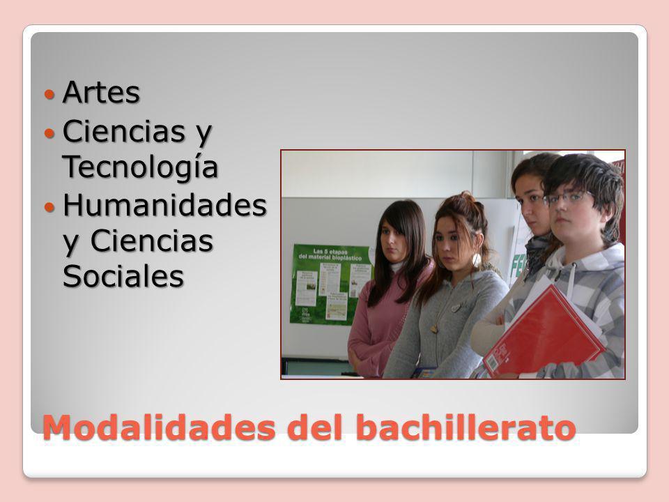 Modalidades del bachillerato Artes Artes Ciencias y Tecnología Ciencias y Tecnología Humanidades y Ciencias Sociales Humanidades y Ciencias Sociales