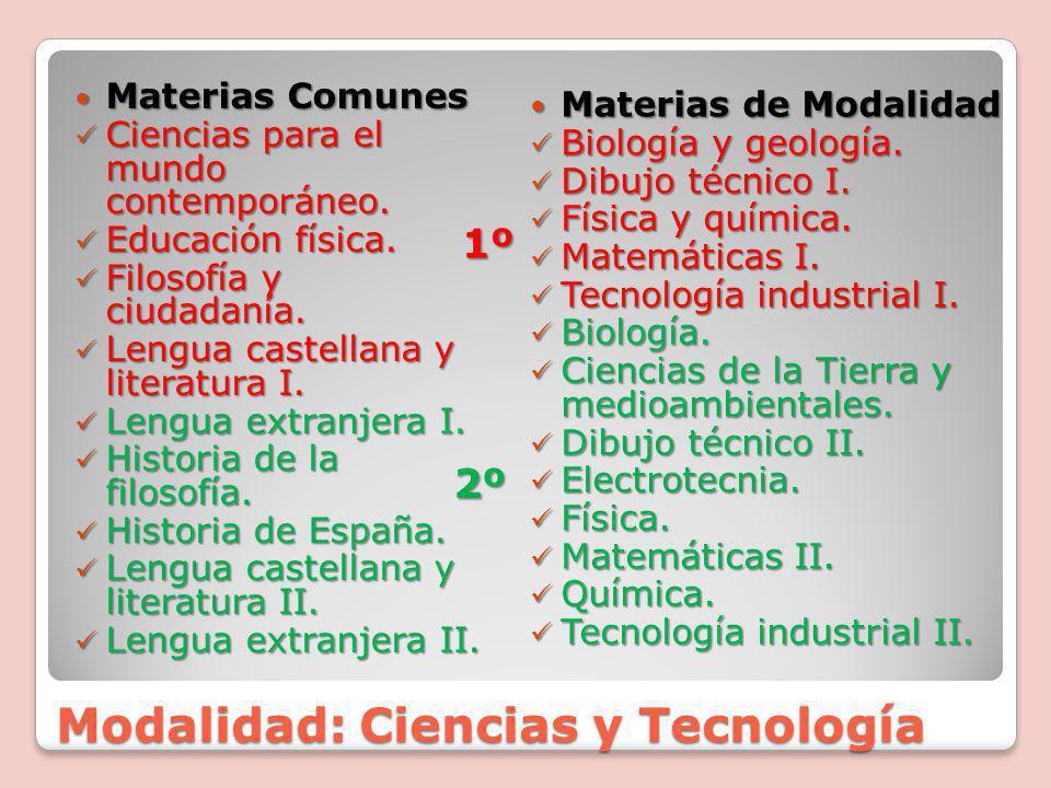 Modalidad: Sociales y Humanidades Materias Comunes Materias Comunes Ciencias para el mundo contemporáneo.