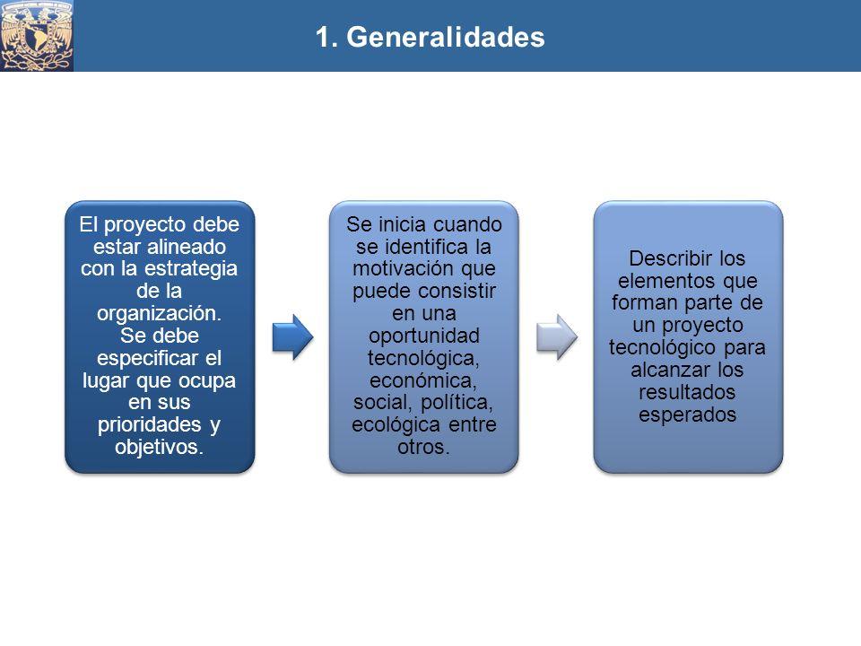 1. Generalidades El proyecto debe estar alineado con la estrategia de la organización. Se debe especificar el lugar que ocupa en sus prioridades y obj