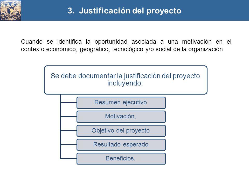 3. Justificación del proyecto Se debe documentar la justificación del proyecto incluyendo: Resumen ejecutivoMotivación,Objetivo del proyectoResultado