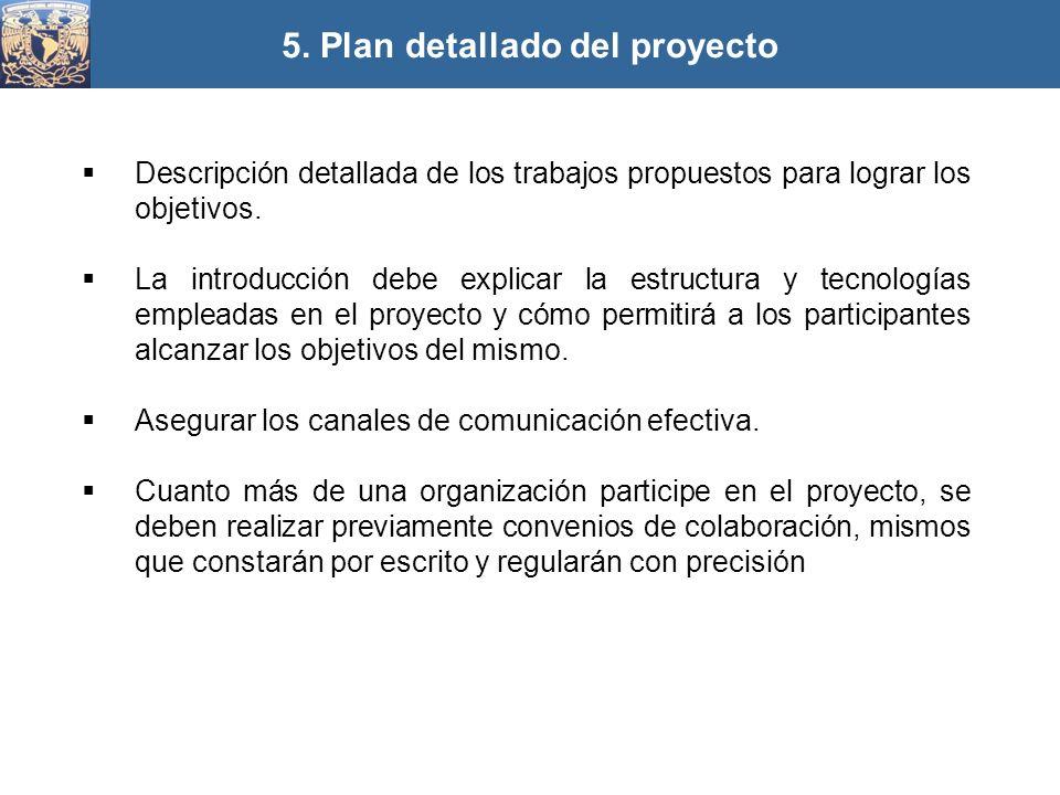 Descripción detallada de los trabajos propuestos para lograr los objetivos. La introducción debe explicar la estructura y tecnologías empleadas en el
