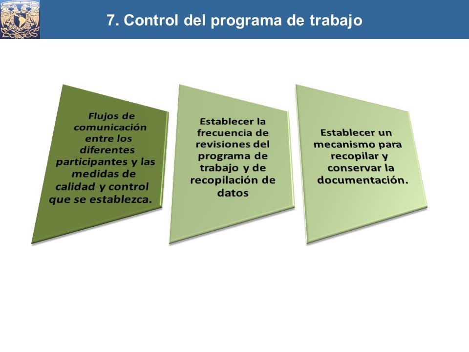 7. Control del programa de trabajo