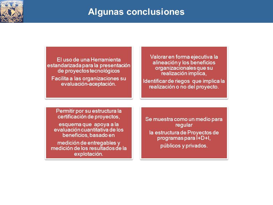 Algunas conclusiones El uso de una Herramienta estandarizada para la presentación de proyectos tecnológicos Facilita a las organizaciones su evaluació