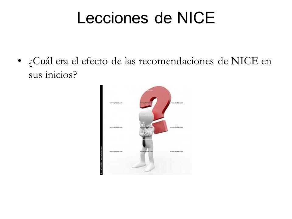 Lecciones de NICE ¿Cuál era el efecto de las recomendaciones de NICE en sus inicios?