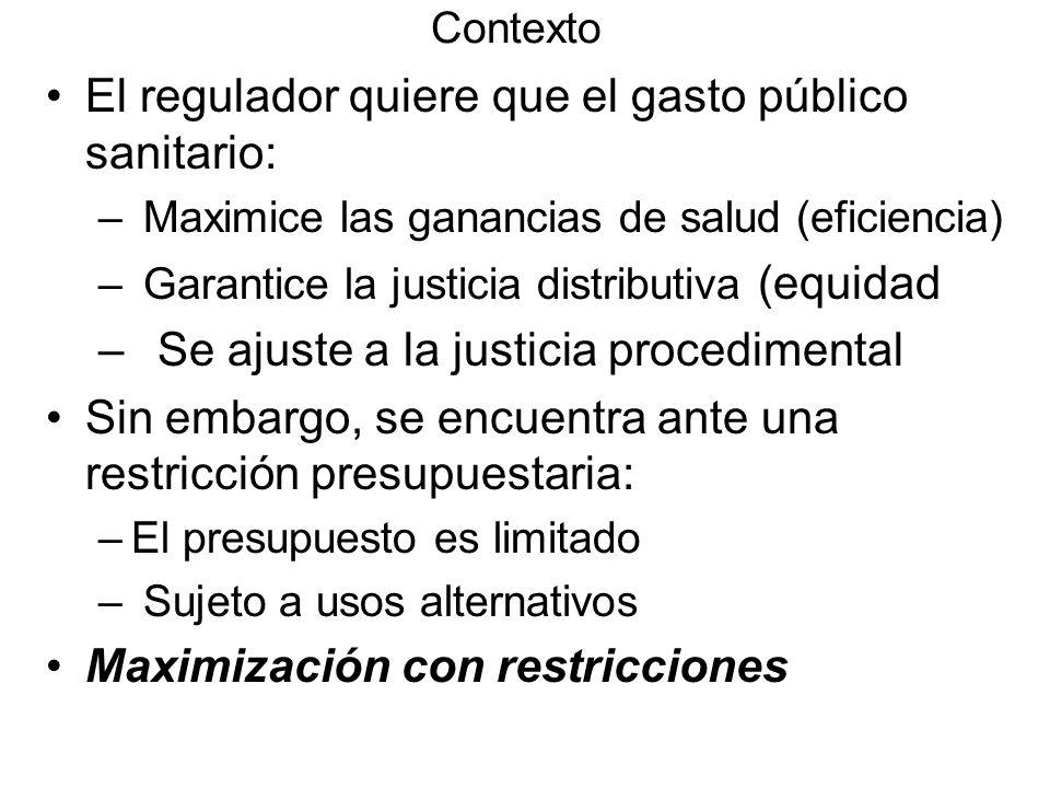 Contexto El regulador quiere que el gasto público sanitario: – Maximice las ganancias de salud (eficiencia) – Garantice la justicia distributiva (equi