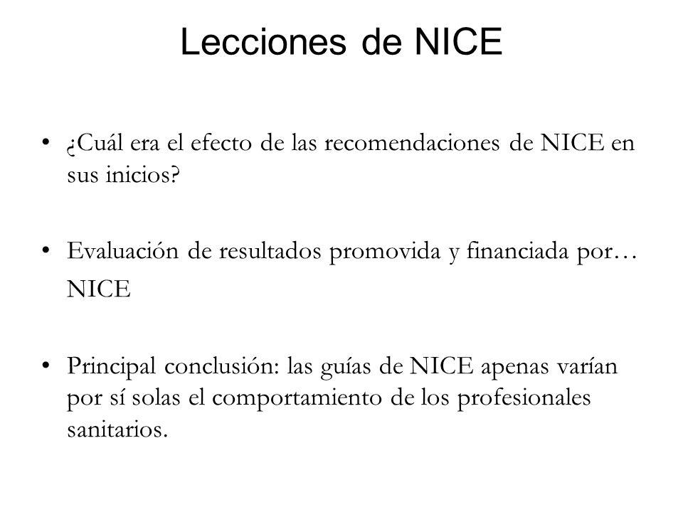 Lecciones de NICE ¿Cuál era el efecto de las recomendaciones de NICE en sus inicios? Evaluación de resultados promovida y financiada por… NICE Princip
