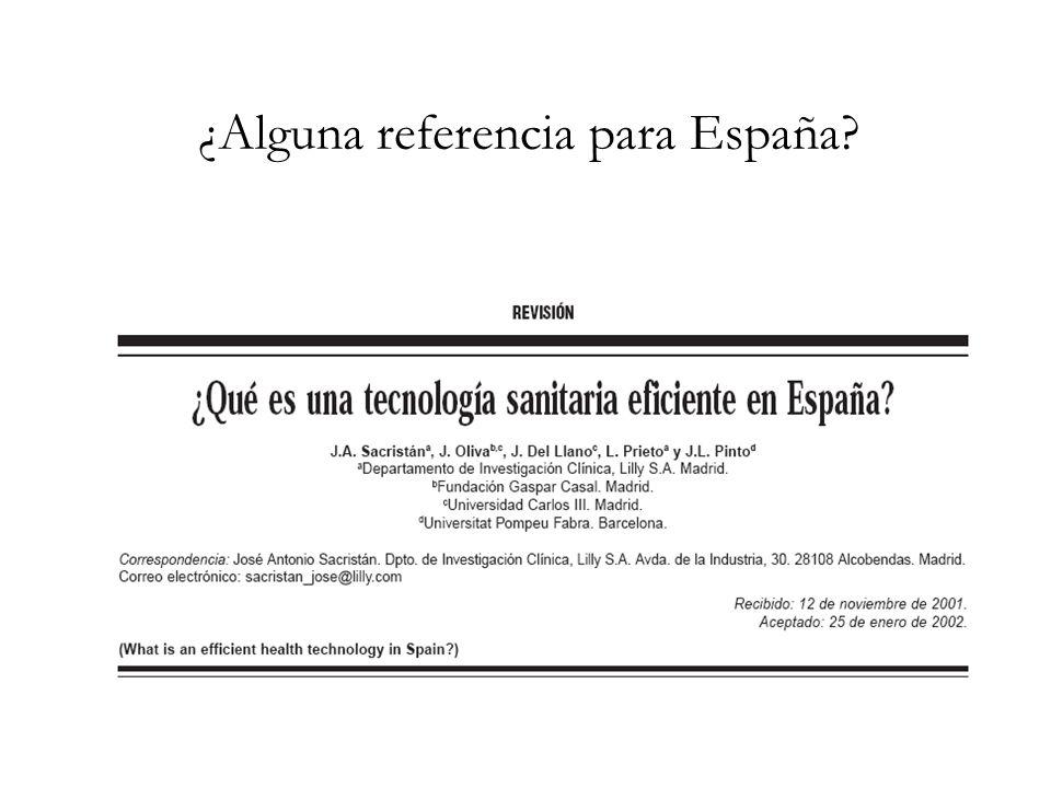 ¿Alguna referencia para España?
