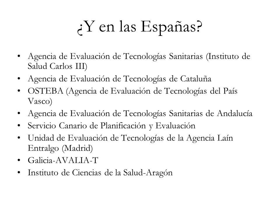 ¿Y en las Españas? Agencia de Evaluación de Tecnologías Sanitarias (Instituto de Salud Carlos III) Agencia de Evaluación de Tecnologías de Cataluña OS