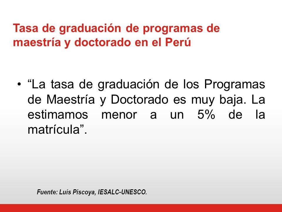Tasa de graduación de programas de maestría y doctorado en el Perú La tasa de graduación de los Programas de Maestría y Doctorado es muy baja.