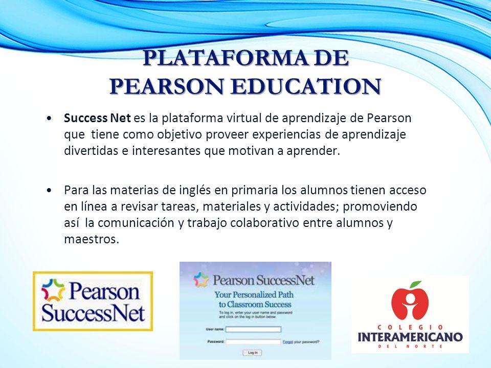 Success Net es la plataforma virtual de aprendizaje de Pearson que tiene como objetivo proveer experiencias de aprendizaje divertidas e interesantes que motivan a aprender.
