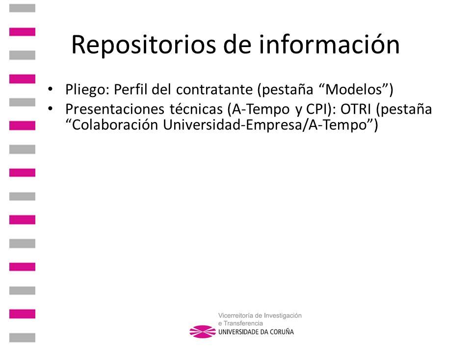 Repositorios de información Pliego: Perfil del contratante (pestaña Modelos) Presentaciones técnicas (A-Tempo y CPI): OTRI (pestaña Colaboración Unive