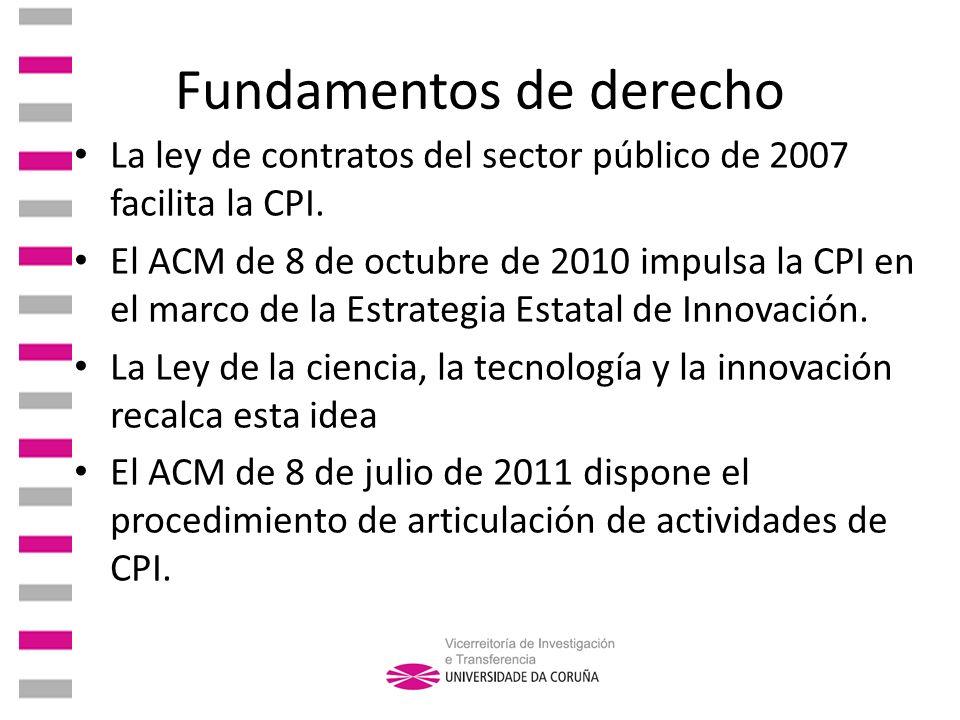 Fundamentos de derecho La ley de contratos del sector público de 2007 facilita la CPI. El ACM de 8 de octubre de 2010 impulsa la CPI en el marco de la