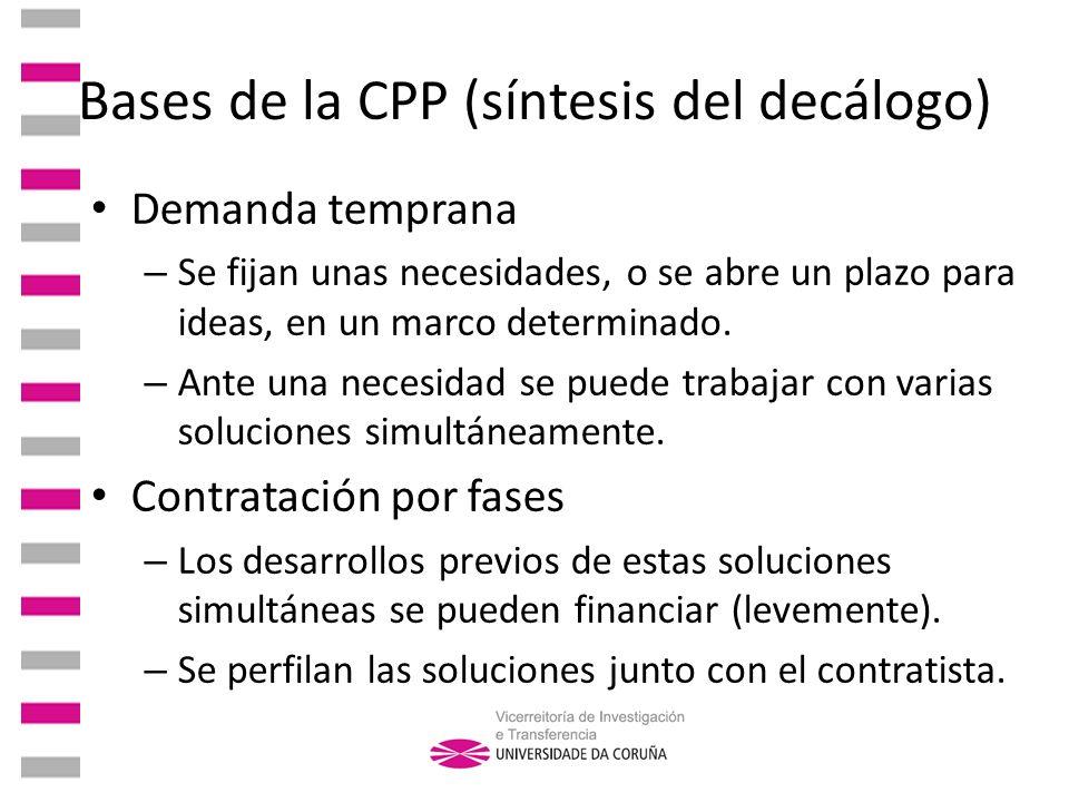 Bases de la CPP (síntesis del decálogo) Demanda temprana – Se fijan unas necesidades, o se abre un plazo para ideas, en un marco determinado. – Ante u