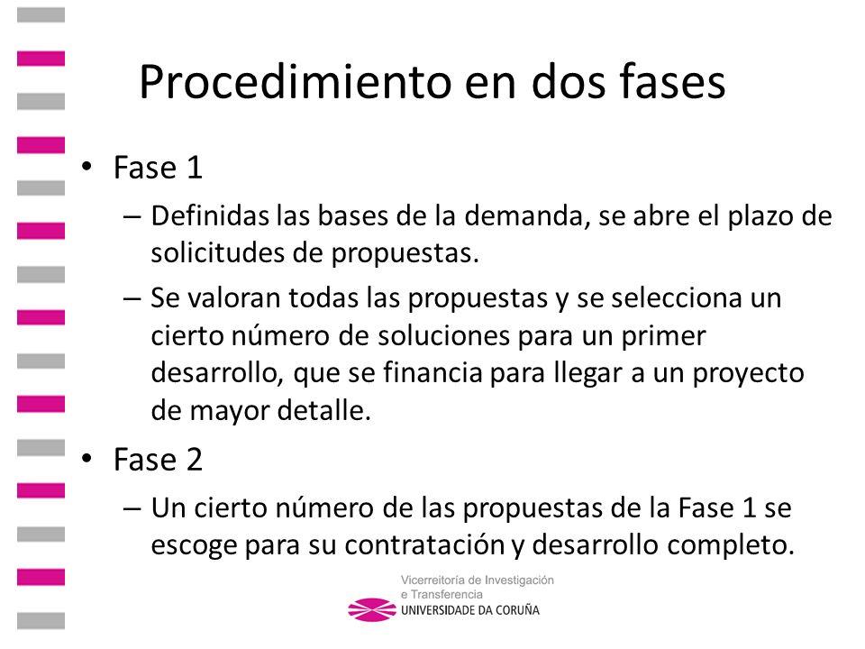 Procedimiento en dos fases Fase 1 – Definidas las bases de la demanda, se abre el plazo de solicitudes de propuestas. – Se valoran todas las propuesta