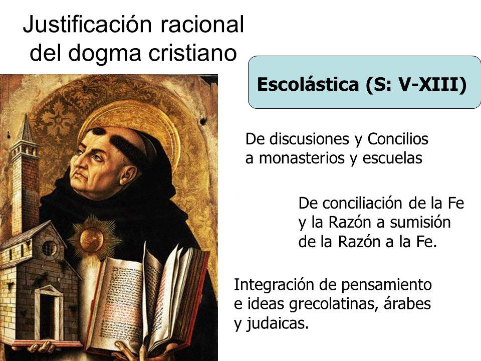 Justificación racional del dogma cristiano Escolástica (S: V-XIII) De conciliación de la Fe y la Razón a sumisión de la Razón a la Fe. De discusiones