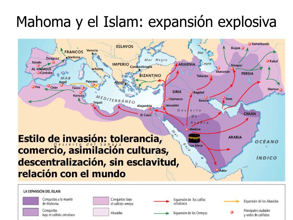 Mahoma y el Islam: expansión explosiva Estilo de invasión: tolerancia, comercio, asimilación culturas, descentralización, sin esclavitud, relación con
