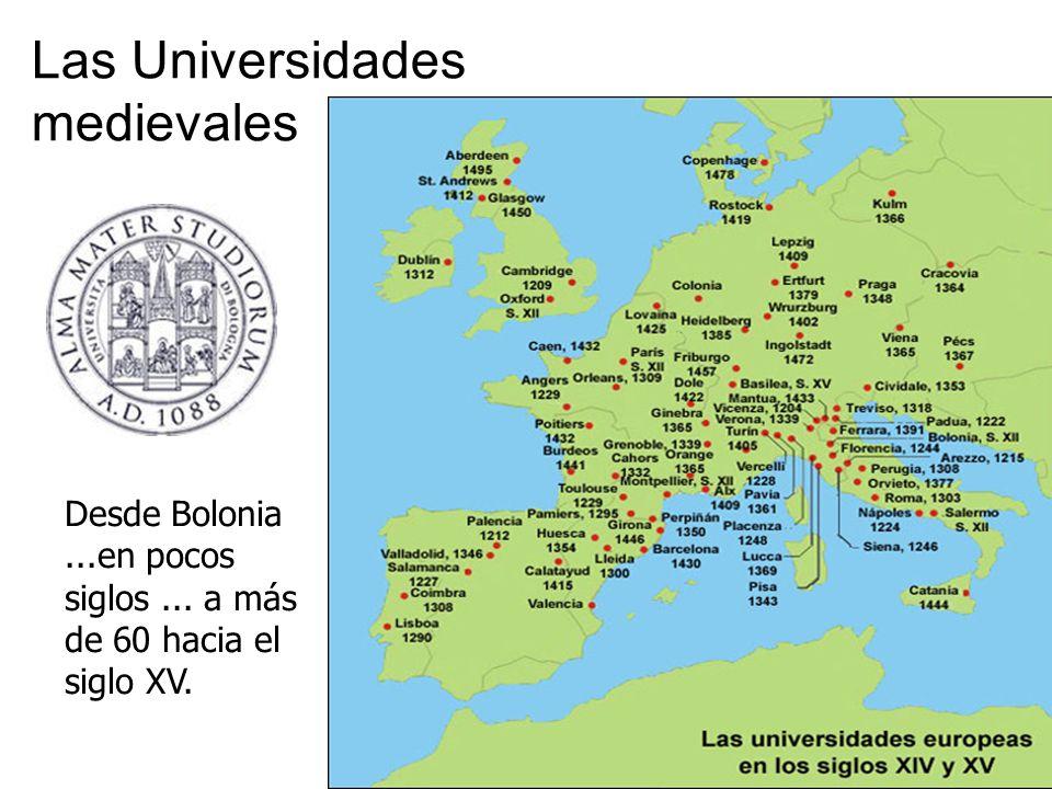 Las Universidades medievales Desde Bolonia...en pocos siglos... a más de 60 hacia el siglo XV.