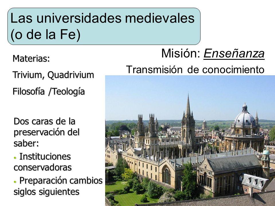 Las universidades medievales (o de la Fe) Misión: Enseñanza Transmisión de conocimiento Dos caras de la preservación del saber: Instituciones conserva